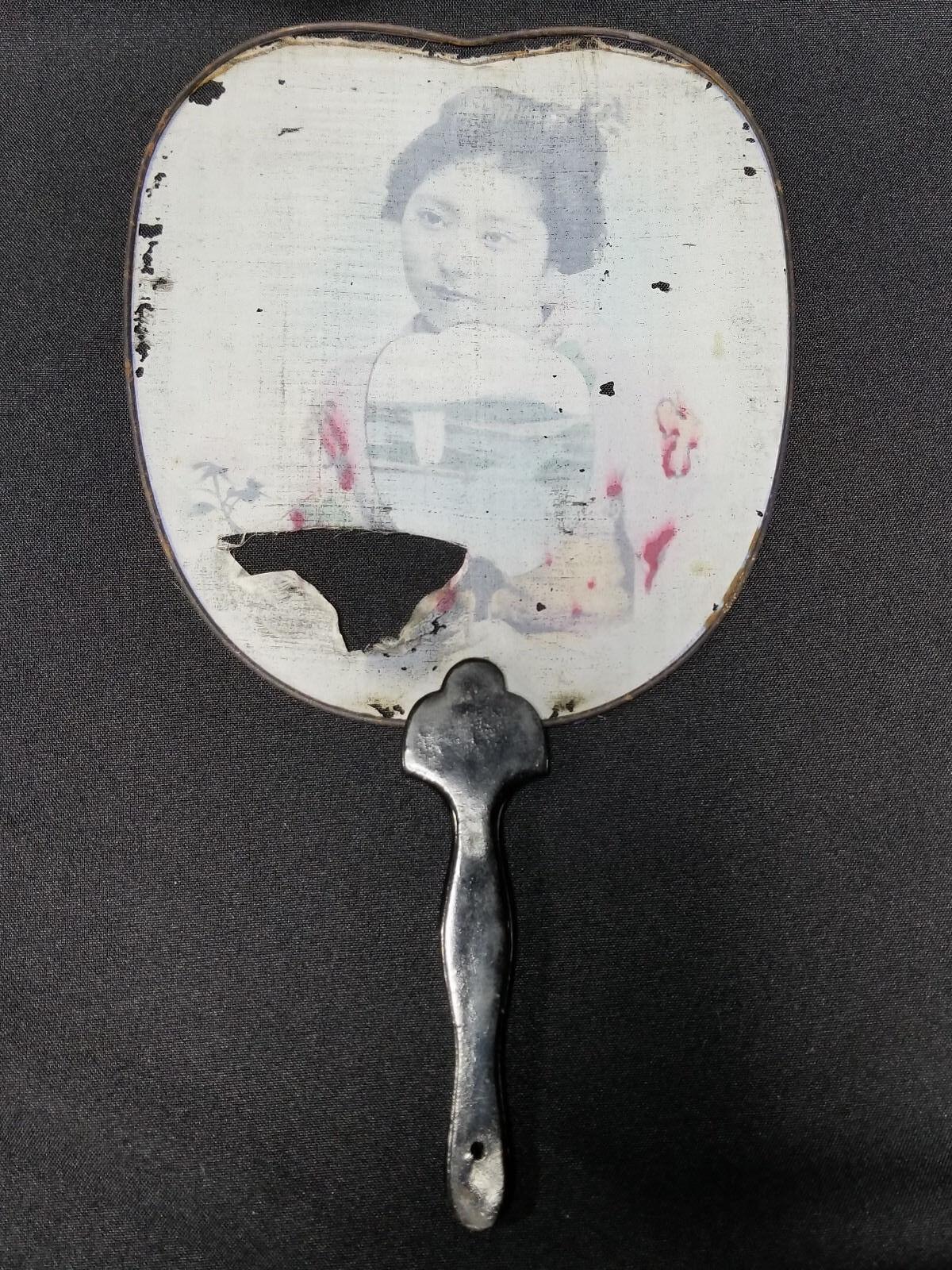 ANTIQUE JAPANESE LADYS HAND HELD FAN SEATTLE 1909