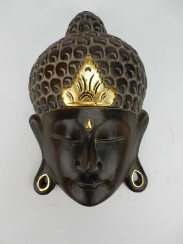 Southeast asian hardwood with Gilt accent Buddha Mask 14 inches