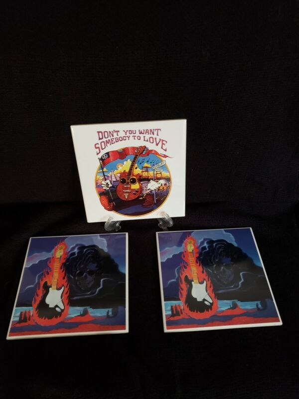 """Stanley Mouse Ceramic Tile Art- Somebody to Love/Flaming Guitar (lot of 3) 5.75"""""""