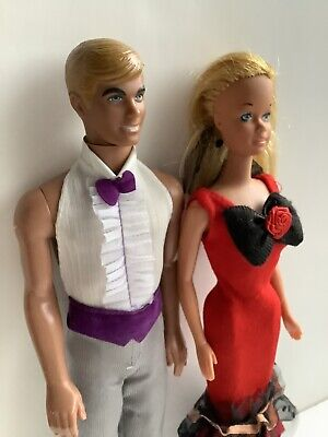Vintage Barbie & Ken Doll Set/ Barbie In Party Clothes Collectible 1960's Dolls