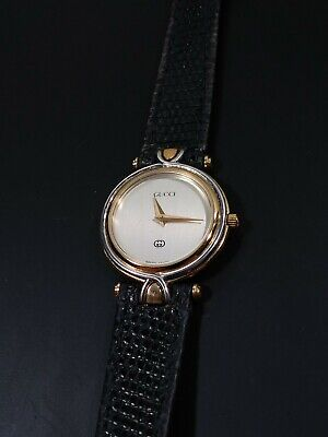 Vintage GUCCI 4500L Two Tone Stainless Gold Plated Ladies Watch w/Lizard Strap