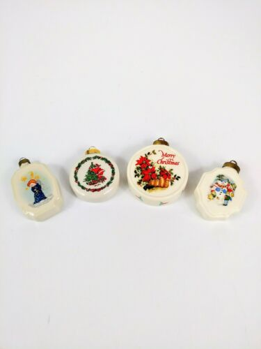 Vintage Christmas Tree Ornaments Decorative Ceramic Set of 4