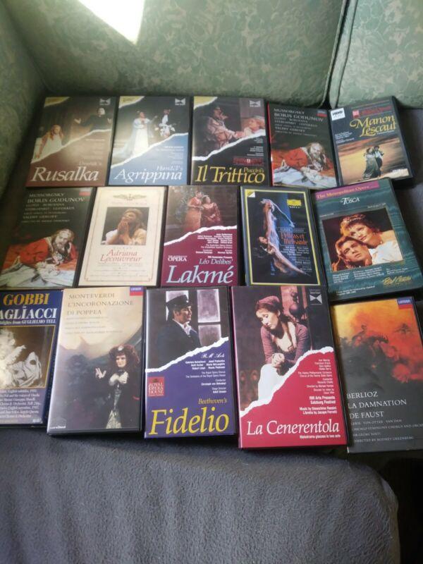 LOT - 15 OPERA MUSIC VHS TAPES, VARIOUS