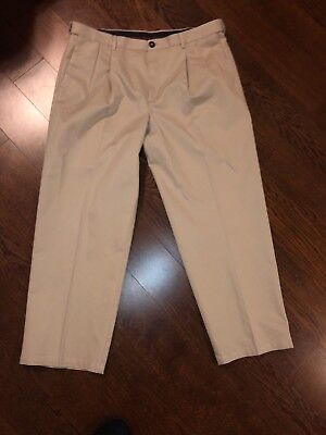 Haggar Expandable Waist Khakis Pleated Front Casual Dress Pants Size See Desc