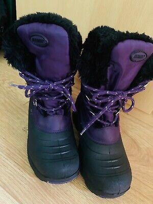 Khombu Girls Purple Warm Waterproof Snow Boots  (Size UK1) - VGC