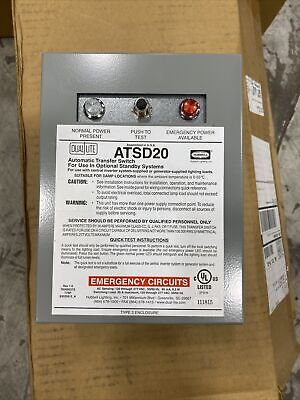 Hubbell Atsd20 20 Amp Auxiliary Transfer Switch New