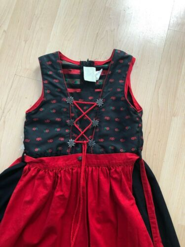 Usar Trachten Heidi German Dirndl Dress Girls Size 6-7  EUR 116 Red Edelweiss