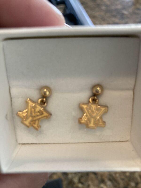 New Vintage VIRGINIA MILITARY INSTITUTE VMI GOLD TONE pierced Dangle Earrings