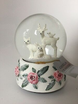 Gisela Graham White Animals with Red Rose Base Musical Snow Globe Let it Snow