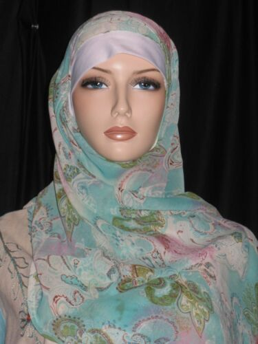 EC aqua blue floral 2 in 1 rectangle scarf Musilma HIJAB Islam head wear cover