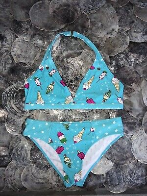 Nwt Juicy Couture Eisblau Creme Neckholder Bikini Badeanzug 2pc Set Jugend Girl'