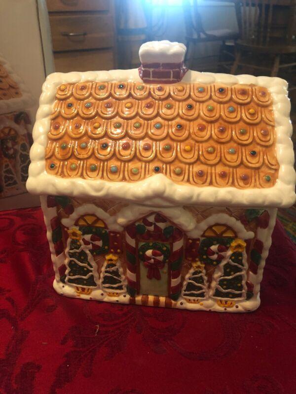 Cardinal Gingerbread House Cookie Jar