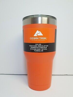 OZARK TRAIL 30 OZ BLAZE ORANGE POWDER COATED DOUBLE WALL STAINLESS  TUMBLER  for sale  Shipping to South Africa