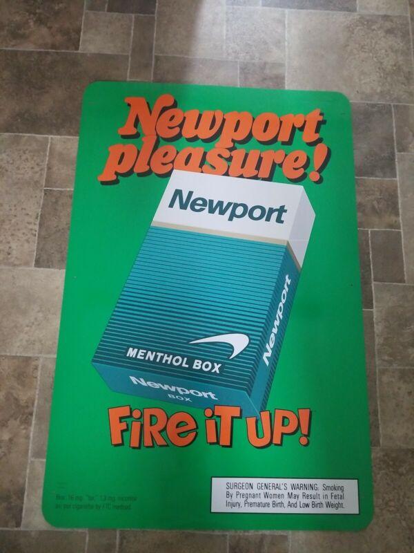 "(VTG) Newport Cigarette store advertising smoking Tin Sign 2 part 72"" rare"