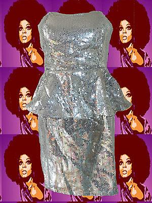 264✪ Retro Pailletten MiniKleid mit Schößchen im 70er Jahre Disco Stil (Disco Stil Kleider)