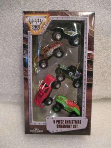 NEW Kurt Adler 5p Monster Jam Trucks Mini Christmas Ornament Set FS Grave Digger
