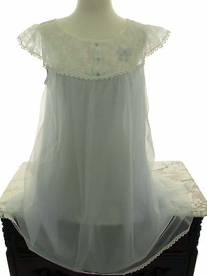 Vintage 60s MISS SIREN Nightgown Negligee Lingerie Angel Blue Chiffon Lace Bow L