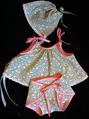 """3 PIECE SUNDRESS SET FOR VINTAGE 20"""" AMERICAN CHARACTER TOODLES BABY DOLL"""