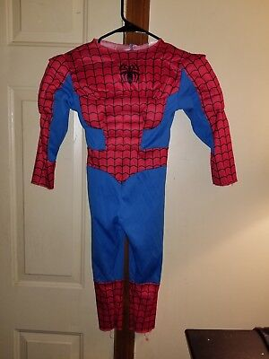Spiderman Boys Toddler/Youth Halloween Costume Size 4-6 Muscle Suit Red Blue (Toddlers Spiderman Costume)