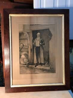 Antique Oak Framed English W. Dendy Sadler Etching Favourite Bin