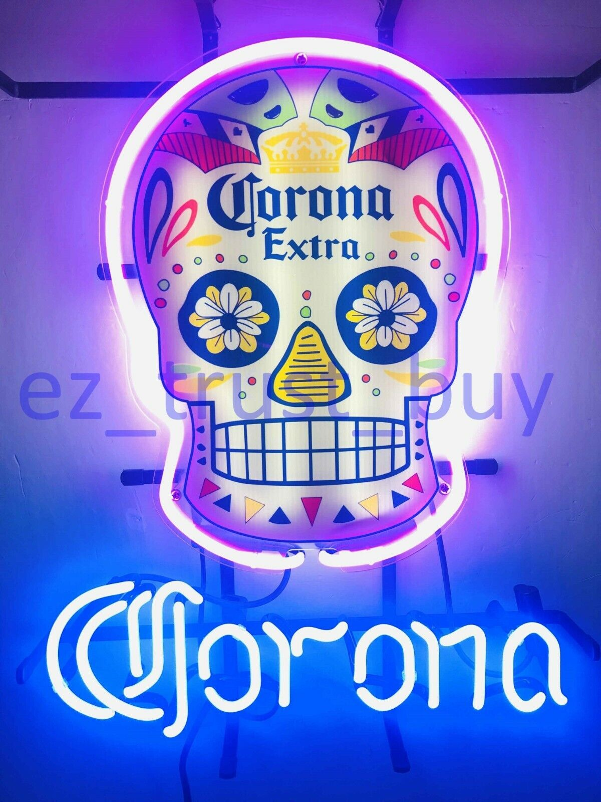 "Corona Haunted Skull Beer Bar Neon Sign 20""x16"" HD Vivid Pri"