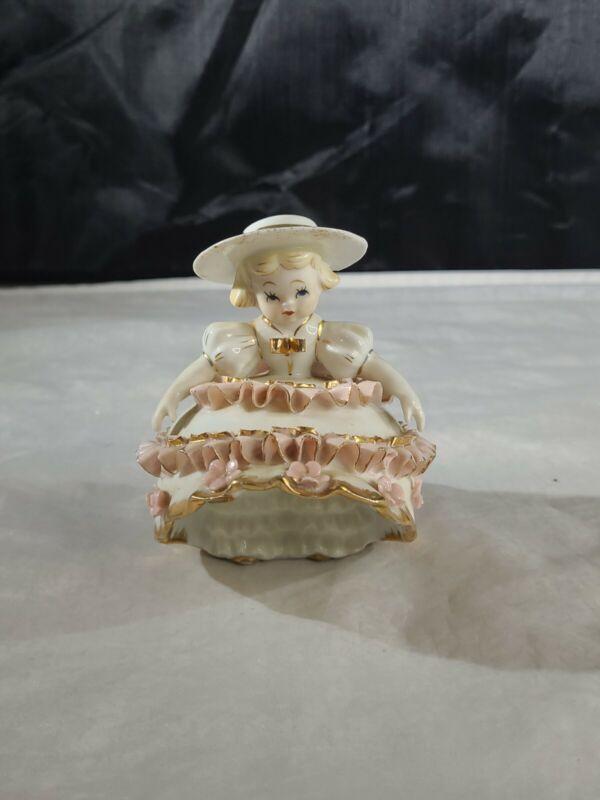Vintage Lefton Signed Bloomer Flower Girl Standing Figurine Pink Dress K1412