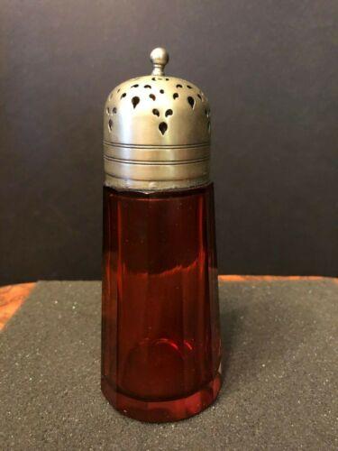 Antique Cranberry Glass Sugar Shaker Victorian Muffineer Silver EPNS - UV Glows