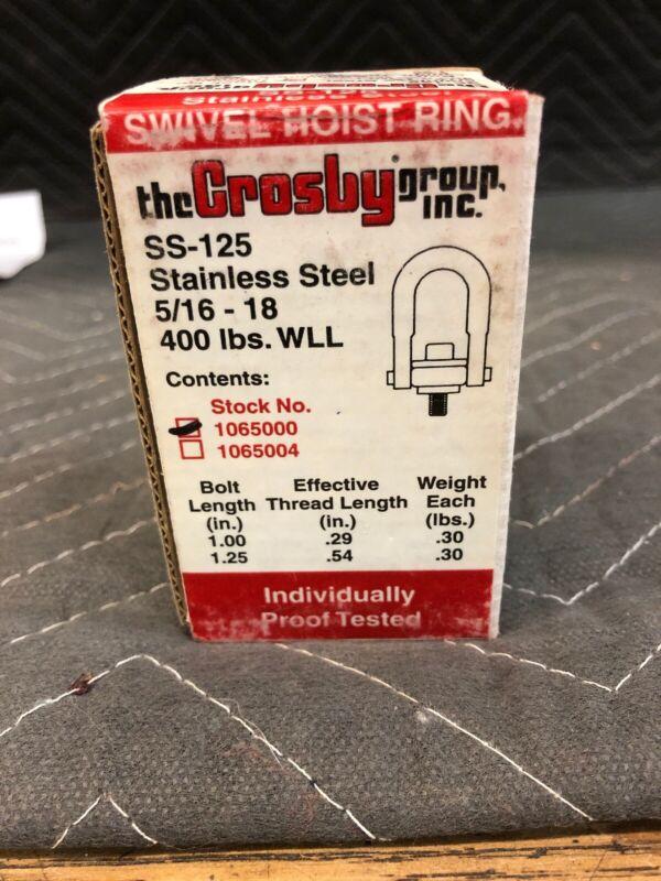 New In Box Crosby Stainless Steel Swivel Hoist Ring 1065000 SS-125 5/16-18 400lb