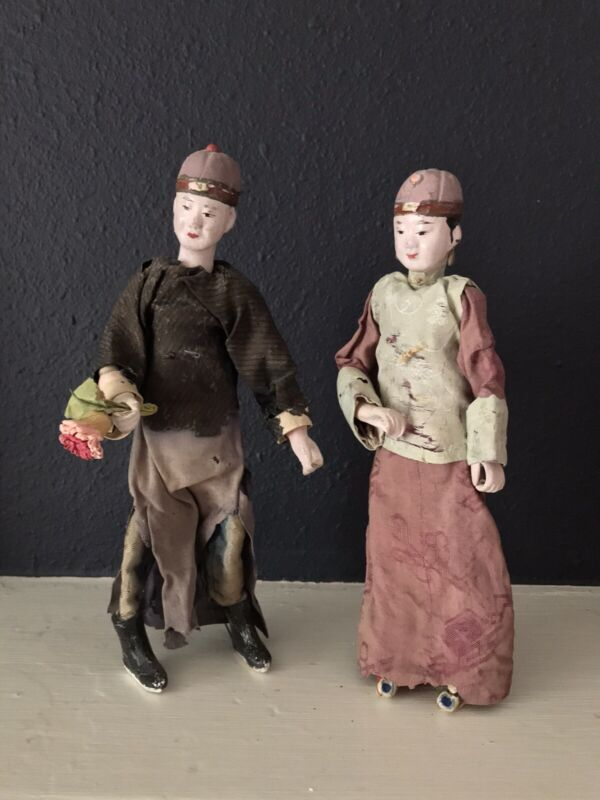 Pair of Antique Chinese Opera Character Dolls