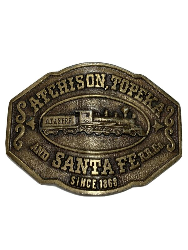 Vintage Atchison Topeka Santa Fe Locomotive Railroad Railway Belt Buckle