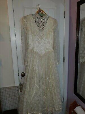 Vtg 80s Jessica McClintock Bridal Wedding Dress Ivory Satin Lace Sz 15/16 EUC Jessica Lace Wedding Dress