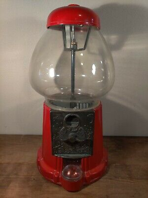 """VINTAGE KING CAROUSEL 1985 GUMBALL MACHINE 15""""  Chipped Accepts Coins Semi Works"""