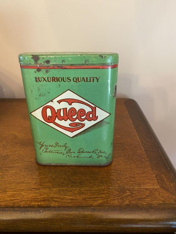 Antique Vintage Queed Patterson Bros. Pocket Tobacco Tin Empty