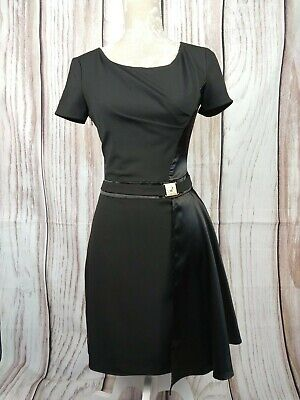 Versace Jeans Black Silk Panel Fitted Dress with Metal Buckle Black Size UK 8 Panel Silk Dress