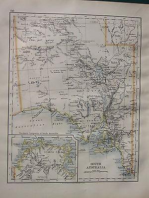 1900 VICTORIAN MAP ~ SOUTH AUSTRALIA ARNHEM LAND ADELAIDE KANGAROO ISLAND