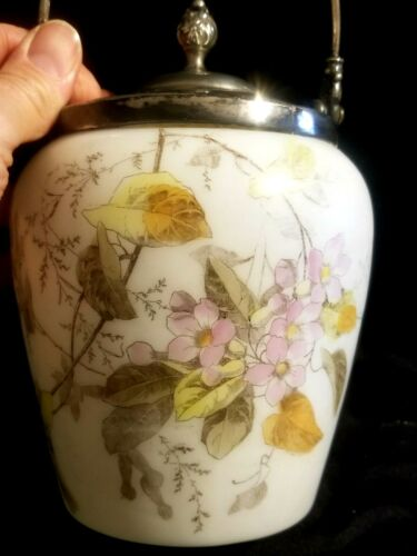 BEAUTIFUL ANTIQUE BISCUIT CRACKER COOKIE JAR w HAND PAINTED FLOWERS CONSOLIDATED