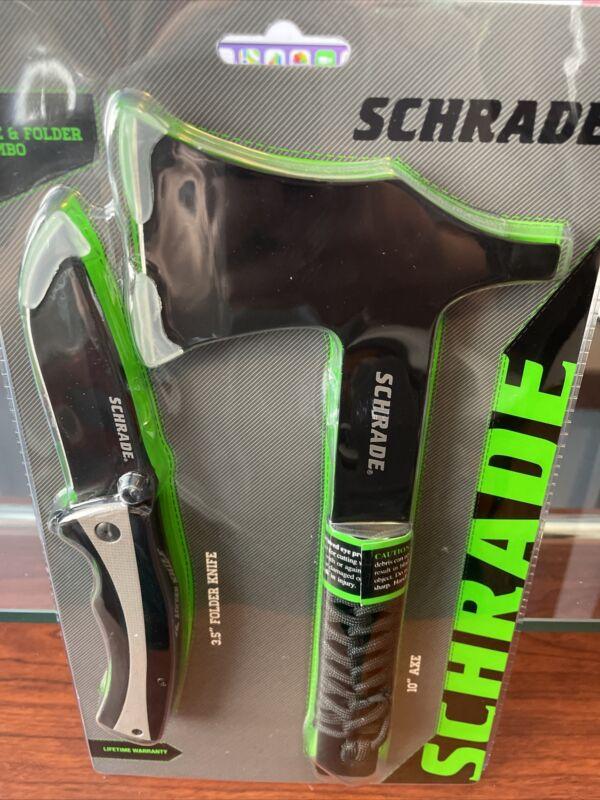 SCHRADE AXE & FOLDER KNIFE COMBO WITH AXE SHEATH #1132984
