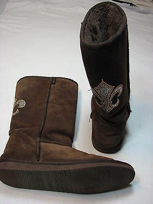 10 Steve Madden Powered Ladies Boots Brown Suede Leather Sparkle Womens Flats 10