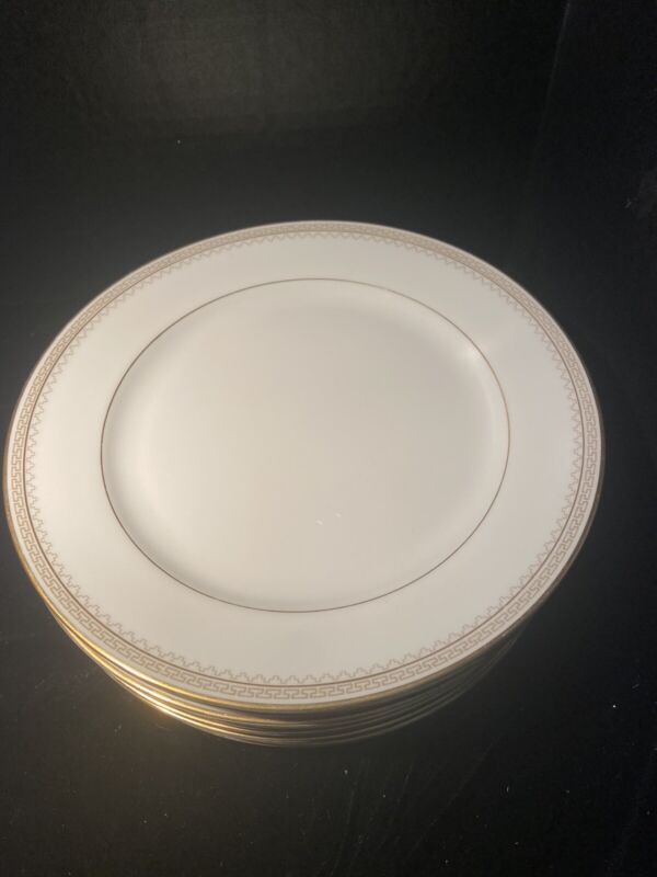 """1930s Heinrich &Co Selb Bavaria 7 8"""" Salad Plates with Gold and Greek Key Trim"""