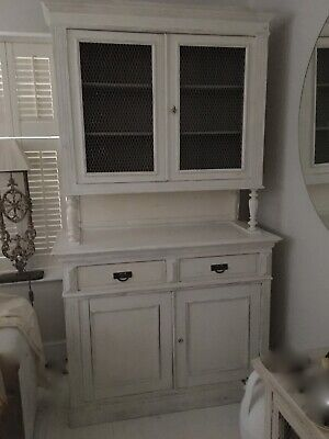 Antique Tall Shabby French pretty dresser with French chicken wire fronts.+ Key