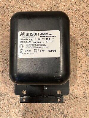 Allanson Ignition Transformer Model 2721 Type 630. Primary 120v