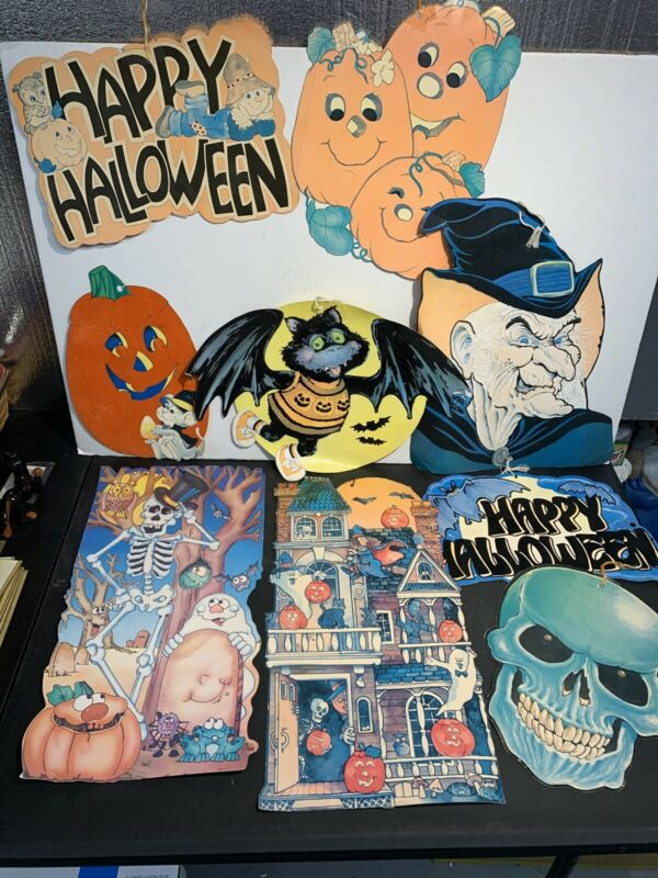 Lot 9 Vintage Halloween Decorations Diecut Paper Peak Eureka U.S.A Felt