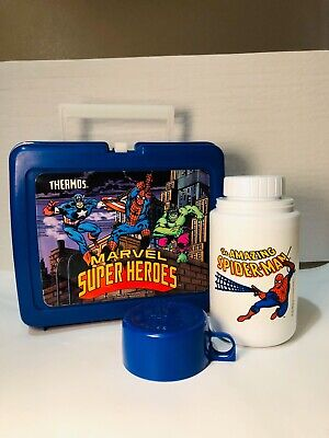 Vintage Marvel Super Heroes 1990 Lunch Box with Amazing SpiderMan Thermos Blue