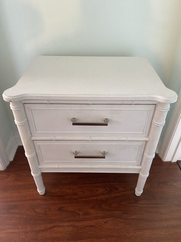 Vintage faux bamboo side table Chippendale style 2 drawers