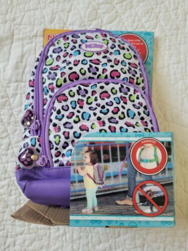 NEW! Nuby On the Go Quilted Backpack Harness Purple NIP