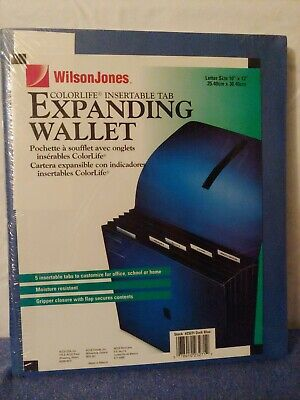 Wilson Jones Blue ColorLife Insertable Expanding File Storage 5 Tabs Letter Size