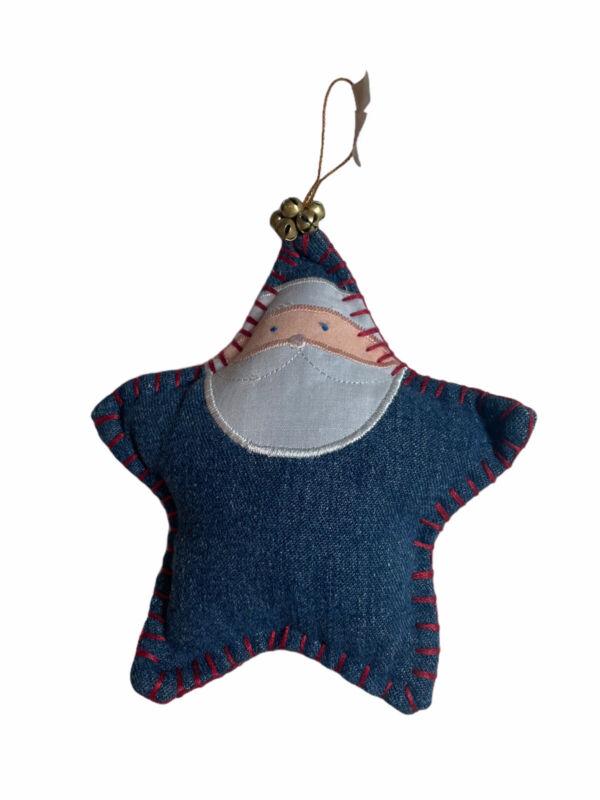 Denim Blue Jean Sewn Cloth Santa Star Collectable Christmas Tree Ornament Pier 1