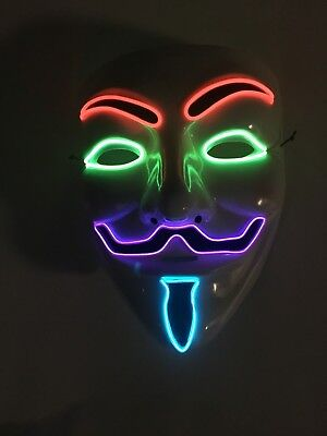 EL WIRE SCARY HALLOWEEN MASK LED COSTUME RAVE - VENDETTA GUY FAWKES ANONYMOUS](El Wire Halloween Costume)