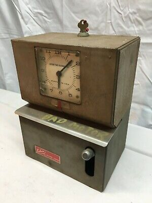 Lathem Time Clock Punch Vintage Mechanical With Key Parts Or Repair