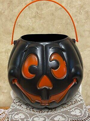 "Vintage 10"" Black Pumpkin Pail 1997 Grand Venture Halloween Trick Treat Bucket"
